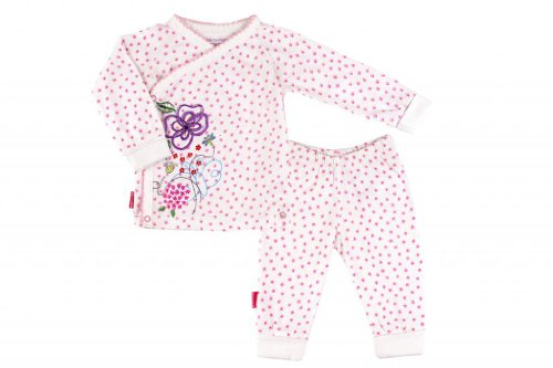 Kushies Organic Baby Girls' Blue Banana Garden Party Long Sleeve 2 Piece Set 12 Months Pink Floral On White