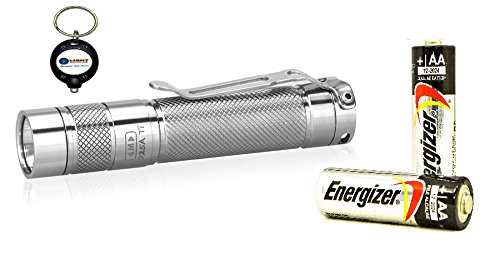 Eagletac D25A Clicky Ti Cool White Titatnium Led Flashlight Combo With 2X Aa Energizer Max Alkaline Battery And Lightjunction Led Keychain Light