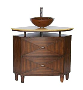 Verdana corner vessel sink vanity - Model Q136-CR