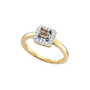 10kt Yellow Gold Womens Princess Cognac-Brown Colored Diamond Square Cluster Halo Fashion Ring (.25 cttw.)