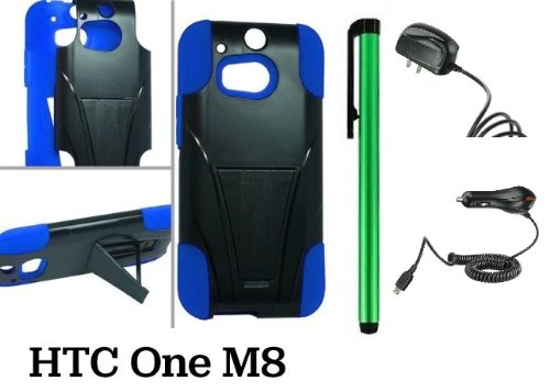Htc One M8 Premium Pretty T-Stand Design Protector Hard Cover Case (2014 Q1 Released; Carrier: Verizon, At&T, T-Mobile, Sprint) + Travel (Wall) Charger & Car Charger + 1 Of New Assorted Color Metal Stylus Touch Screen Pen (Blue / Black)