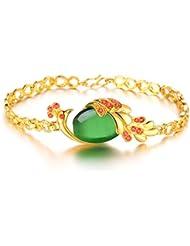 Cyan 18 K Gold Plated Peacock Shaped Cubic Zircon Bracelet For Women