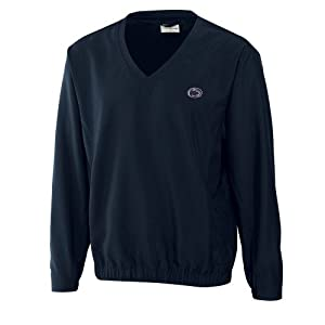NCAA Mens Penn State Nittany Lions Navy Blue Windtec Astute V-Neck Windshirt by Cutter & Buck