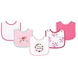 Luvable Friends 5 Piece Drooler Bib with Waterproof Backing, Floral