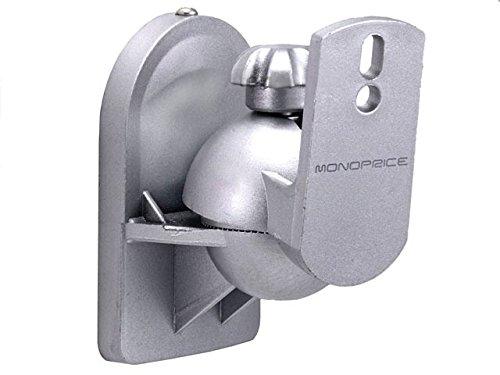 Monoprice Speaker Wall Mounting Bracket (Set Of 2 Pcs, Max 7.5Lbs) - Silver