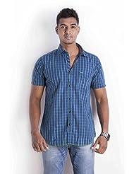 Sting Blue Checks Slim Fit Casual Shirt - B00NQQCN6O