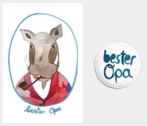 """Geschenke-Set """"bester Opa"""" Postkarte + Magnet (Geschenkidee zur Geburt/ Geburtstag/ Weihnachten, Schwangerschaft verkünden)"""