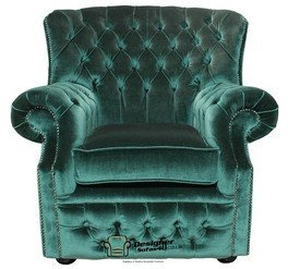 Chesterfield Ohrensessel, Mönche UK Sessel, Samt, Grun