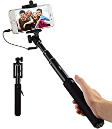 Selfie Stick - iXCC Aluminum Wired Selfiestick [Built-in Remote Shutter, Adjustable Phone Holder, 3.5mm Aux Cable] for iPhone,Samsung,Android and More