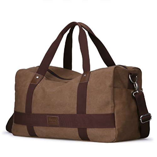 Unisex Canvas Weekend Bag Holdall Large Handbag Travel Bag Duffel Overnight Travel Luggage Tote Handbags Shoulder...