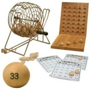 Deluxe 7 Inch Diameter Silver Metal Frame Cage Wooden Bingo Game Set by CHH TOY (English Manual)