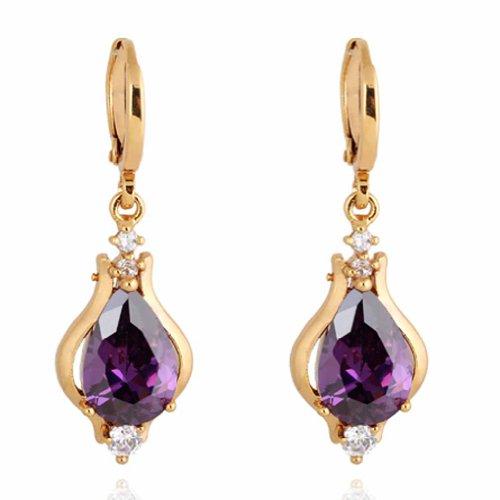 Yazilind Elegant Unique Design Gold Plated Inlay Teardrop Purple Cubic Zirconia Dangle Drop Earrings