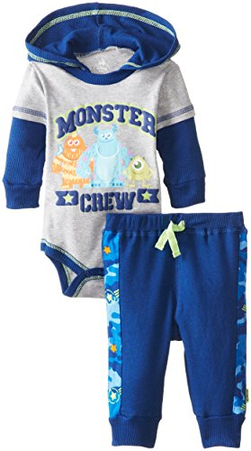 Disney Baby Baby-Boys Newborn Monster Inc. Hooded Bodysuit With Camo Pants, Gray, New Born front-537062