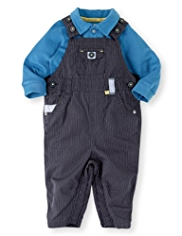 2 Piece Autograph Pure Cotton Striped Dungaree Outfit