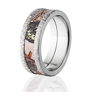 mossy oak camo rings camouflage wedding bands pink