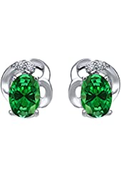 1.41 Ct Oval Green Simulated Emerald 925 Sterling Silver Earrings