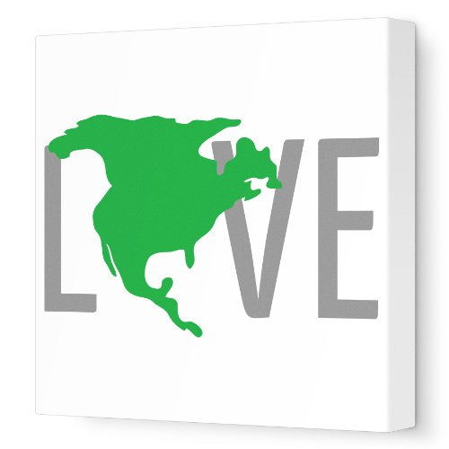 "Avalisa Stretched Canvas Nursery Wall Art, North America Love, Green, 18"" X 18"""