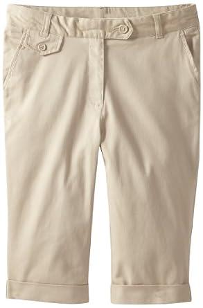 Nautica Big Girls'  Plus-Size Cuffed Twill Skimmer, Khaki, 10.5