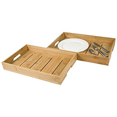 La Vie Parisienne - Home & Kitchen Collection - Set Of Two Bamboo Serving Trays - TV Trays - Breakfast Trays - Serving Platters - Eco Friendly - Natural Wood