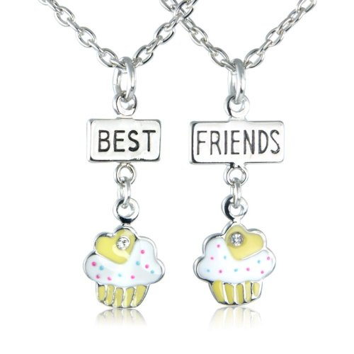 Yellow Cup Cake Bestfriends Necklace - Friendship necklace arrives in 2 lovely gift bag's - a perfect gift idea