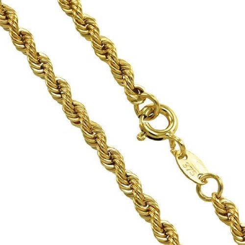 Sayers London 9ct Yellow Gold Hollow Rope Chain 16