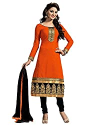 Galaxy Women's Printed Chanderi Chudidar Orange Black Unstitched Dress Material (Orange, Black)