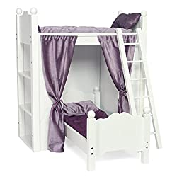 Fits American Girl Doll Loft Bunk Bed Furniture with Shelves & Storage | 18