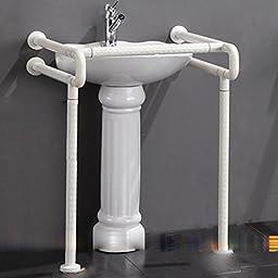 BBSLT-Wash basin with pedestal lavatory basin disabled antibacterial barrier-free handrail slip the bathroom sink nylon handrails , yellow