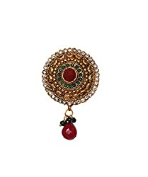 Gold Plated Traditional Green Red Stones Drop Hair Clip TC124