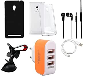 NIROSHA Cover Case Headphone USB Cable Mobile Holder Charger for ASUS Zenfone 6 - Combo