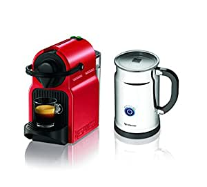 Nespresso Inissia Espresso Maker with Aeroccino Plus Milk Frother, Red