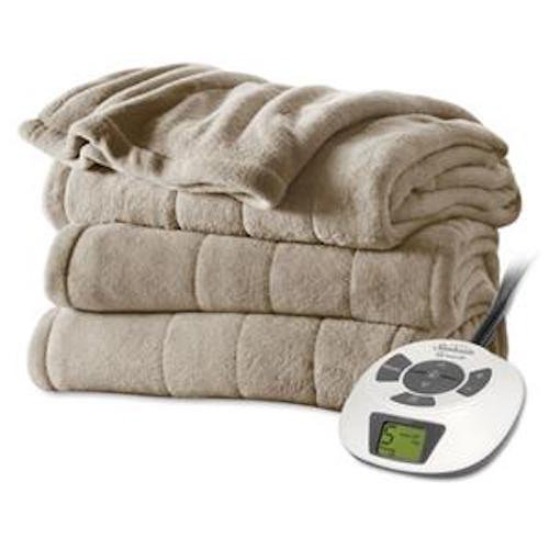 Sunbeam Velvet Plush Heated Blanket, Full Size, Mushroom (Sunbeam Electric Blanket Velvet compare prices)