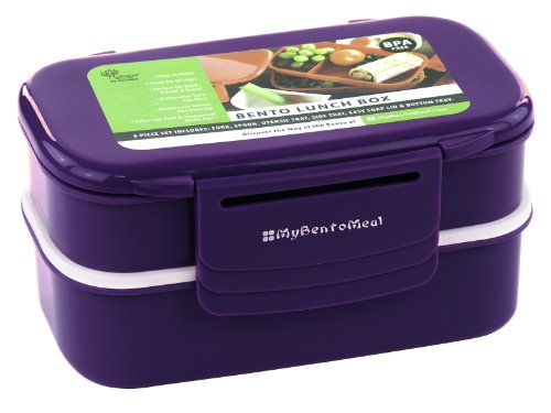 Bento Lunch Box - Double Stack 6-piece Set with Utensils - Fun Food Container for All Ages (Colors Vary)