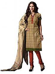 Govardhan Fashion being and brown colour cottan Unstitched Dress Material