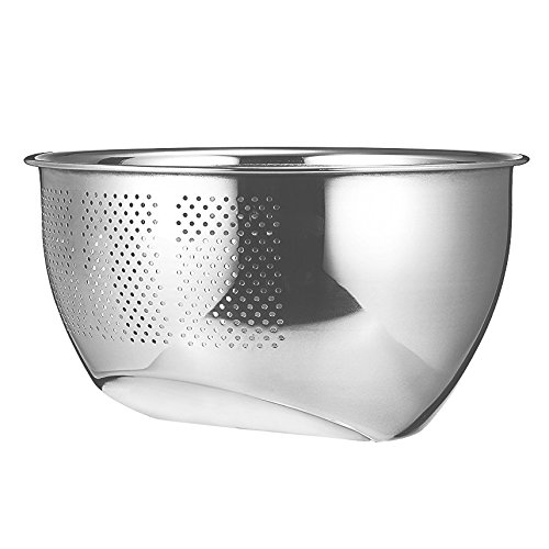 Papaya Bay Stainless Steel Colander, Professional Kitchen Strainer/Washing Bowl for Vegetables/Fruit/Rice/Grains, Perforated Side Drainer (Stainless Steel Rice Bowl compare prices)