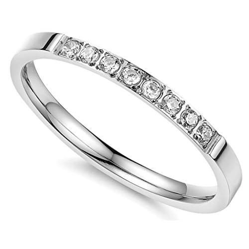 (キチシュウ)Aooazジュエリー レディースステンレスリング指輪 CZダイヤモンド入り シルバー エレガントデザイン 高品質のアクセサリー 日本サイズ14号(USサイズ7号)