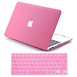 "IDACA Quicksand Pink Matte Hard Shell Case Cover for Macbook Air 13"" 13.3"" A1369 & A1466 and 2014 New Macbook Air 13"" with Silicone Keyboard Cover (USA KEYBOARD VERSION)"