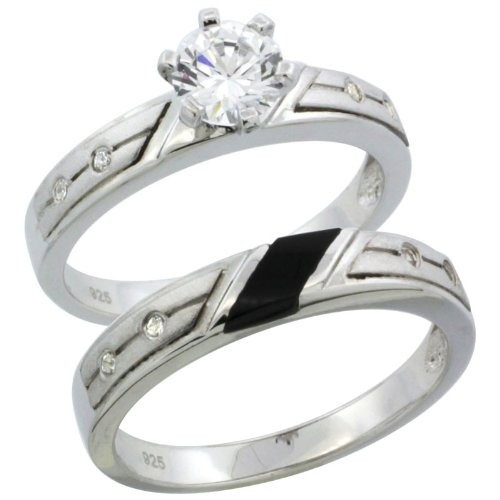 Sterling Silver 2-Piece 1 Carat Size Engagement Ring Set CZ Stones Rhodium finish, 1/8 in. 3.5 mm, Size 7.5