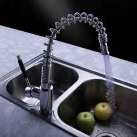 Chrome Single Handle Pull Out Centerset Kitchen Faucet