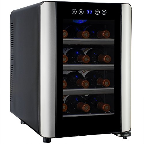 AKDY® Black Freestanding Thermoelectric Counter Wine cooler Cellar Quiet Operation (12 Bottle Silver) (In Cabinet Wine Fridge compare prices)