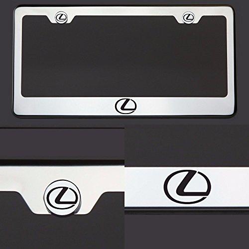 One Laser Engraved Black Lexus Logo Mirror Stainless Steel License Plate Frame Holder Front Or Rear Bracket Steel Screw Cap (Lexus Rx300 License Plate Bracket compare prices)