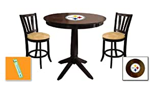 New 3 Piece Cappuccino Espresso Bar Table Set With A Pittsburgh Steelers Theme And