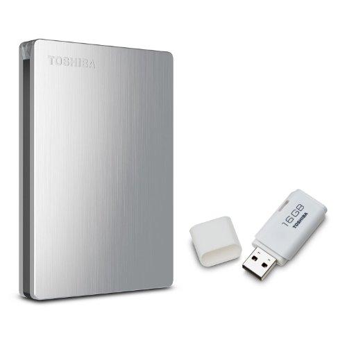 Toshiba Canvio Slim II 1.0 TB Portable Hard Drive with Bonus 16GB USB Flash Drive - Brushed Aluminum
