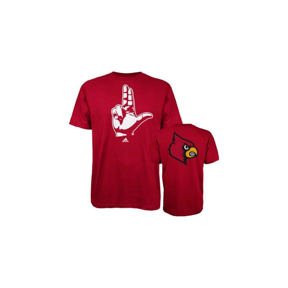 Louisville Cardinals Red adidas Hand Signs T Shirt