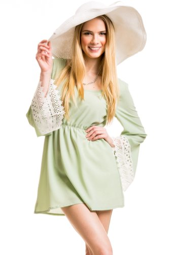 Lace Lined Bohemian Dress In MInt