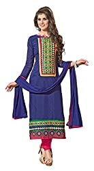 7 Colors Lifestyle Blue Coloured Embroidered & Printed Chanderi Unstitched Dress Material(Free Size_Blue)