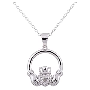 Sterling Silver Rhodium Plated Diamond Accent Claddagh Design Pendant Necklace, 18