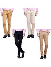 Nimegh Cream, Black, Wine And Beige Color Cotton Casual Slim Fit Trouser For Men's (Pack Of 4)