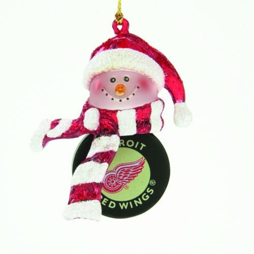 Detroit Red Wings Striped Snowman Hockey Christmas Ornament