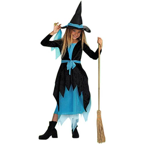 Child's Turquoise Witch Halloween Costume (Size:Large 7-10)